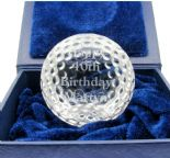 Crystal Sliced Golfball Award, Personalised, ref SGB1